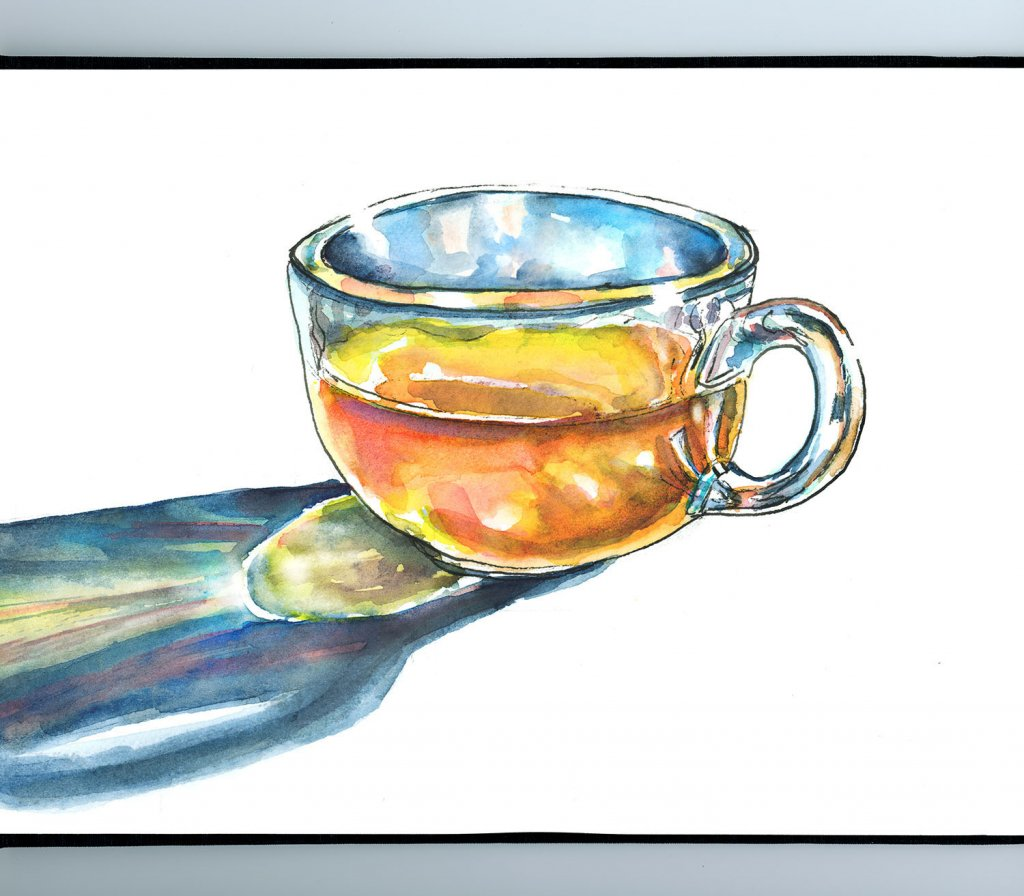Glass Of Tea Morning Light Watercolor Painting Sketchbook Detail