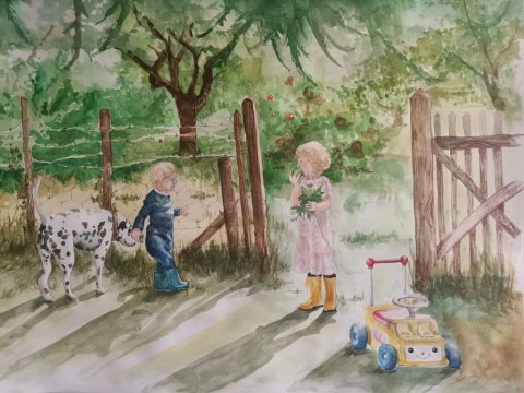 Elise Richards Artist Watercolor Painting Two Little Kids And Dog