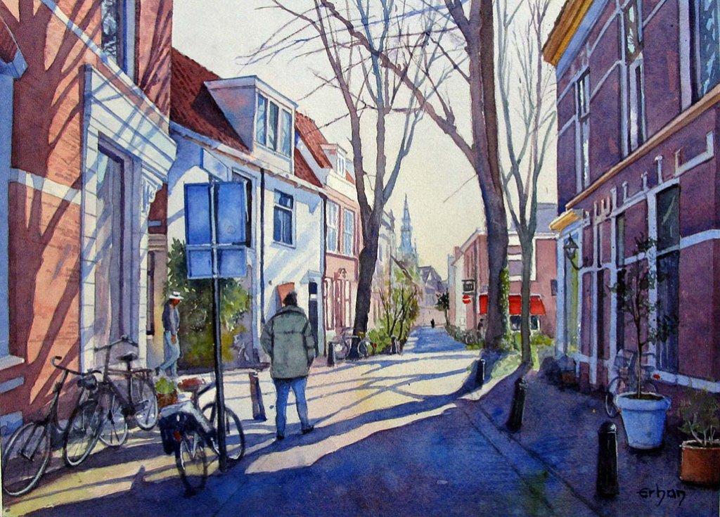 Street in Haarlem, Holland Watercolor Painting by Erhan Orhan