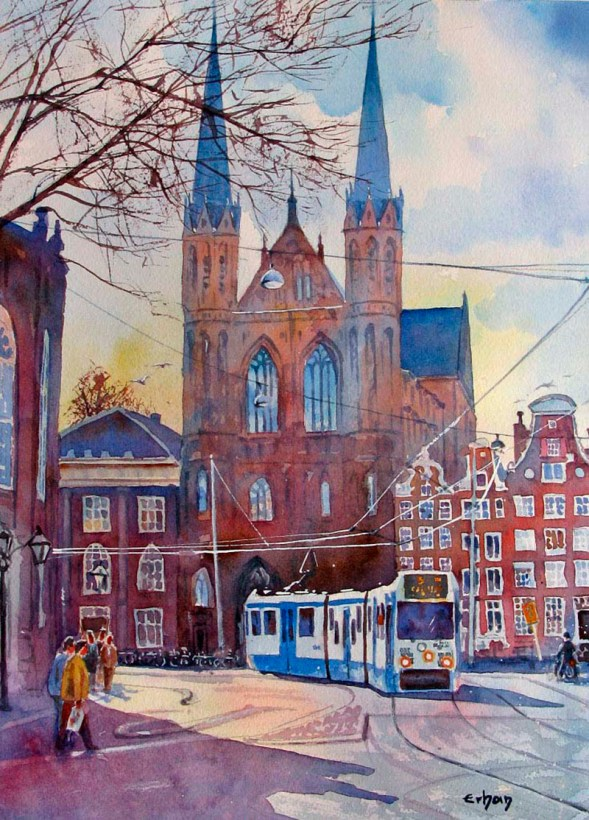 St Francis Xavier Church Amsterdam Watercolor Painting by Erhan Orhan