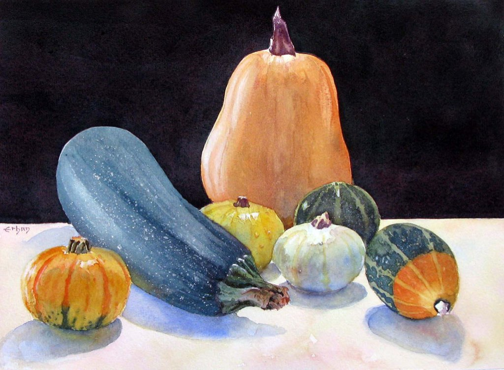 Still Life Watercolor Painting of Squash by Erhan Orhan