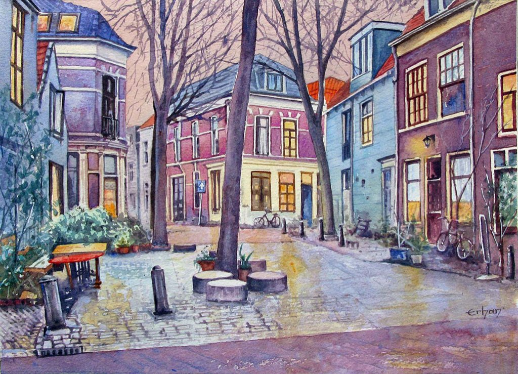 Vijfhoek Haarlem, Holland Watercolor Painting by Erhan Orhan