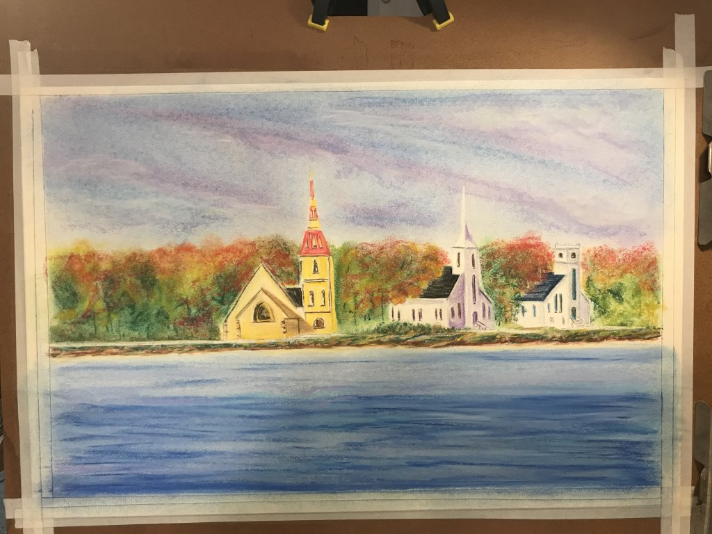 This is my first large painting (15'X20″) using soft pastels, I realized early on I was