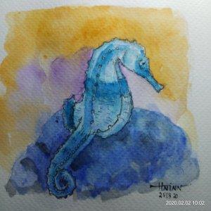 #doodlewashFebruary2020 #WorldWatercolorGroup #Beginner #Day2 #Seahorse #2Feb2020 IMG_20200202_10021