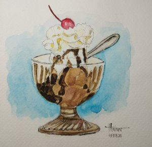 #doodlewashFebruary2020 #WorldWatercolorGroup #Beginner #Day4 #Dessert (ice cream) #4Feb2020 IMG_202
