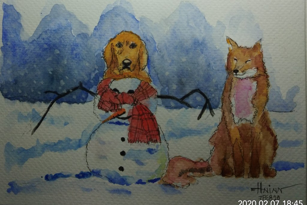 #doodlewashFebruary2020 #WorldWatercolorGroup #Beginner #6+7 #Snow #Fox #7Feb2020 I combined painted