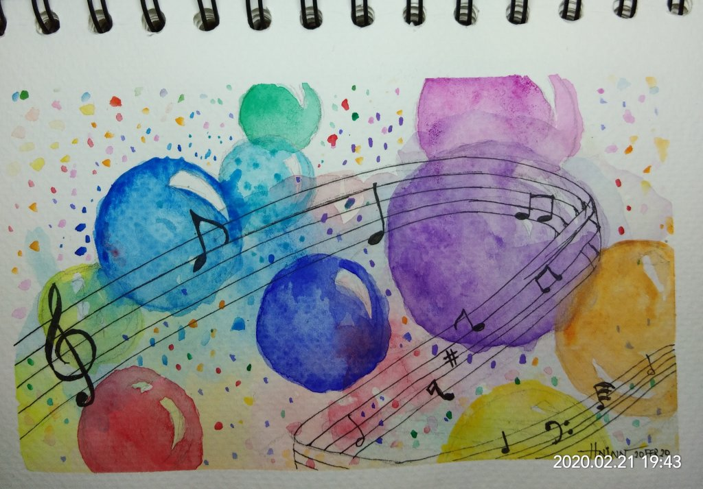 #doodlewashFebruary2020 #WorldWatercolorGroup #Beginner #17+18+19+20 #sunset #bubbles+#music #leaves