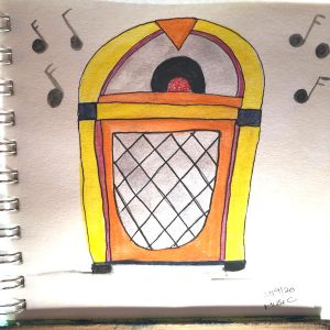 This is where this prompt took me…I thought of a jukebox putting out music all the time! Ok I