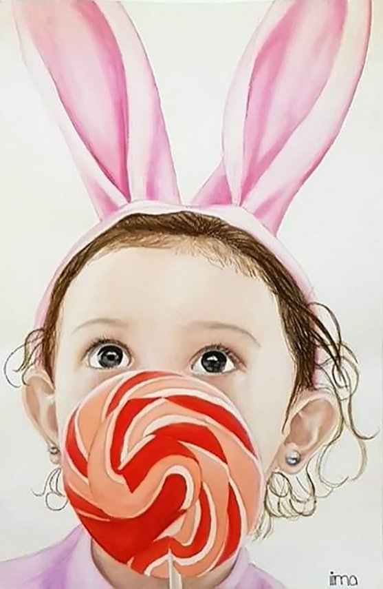 Little Girl Bunny Ears Lollipop Watercolor Painting by Nereida Lima