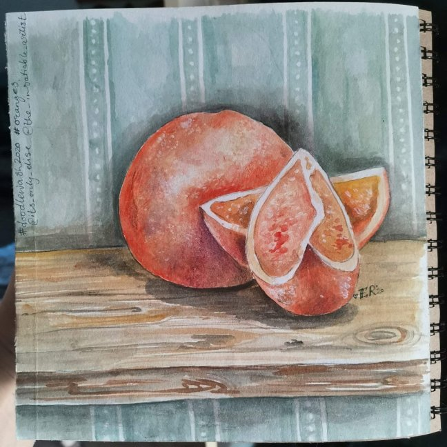 Oranges And Orange Slices Watercolor