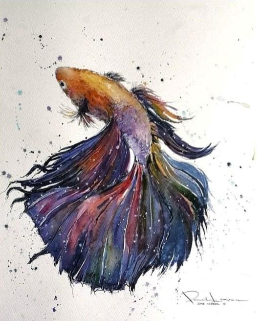 Original_Maravilha D' Oceano Siamese Fighting Fish Watercolor