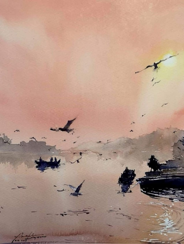 Original_Orange World Watercolor Painting Pamela Lagrosa