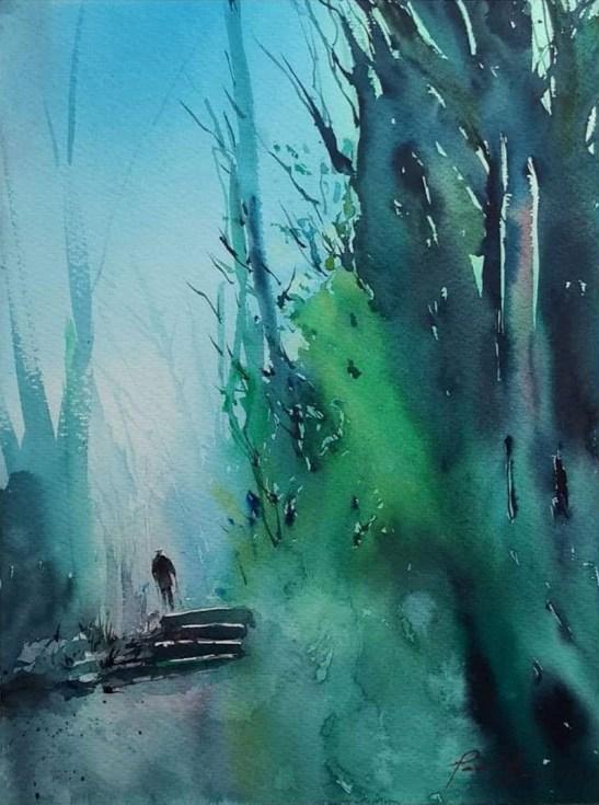Original_Solitary Walks Watercolor Painting