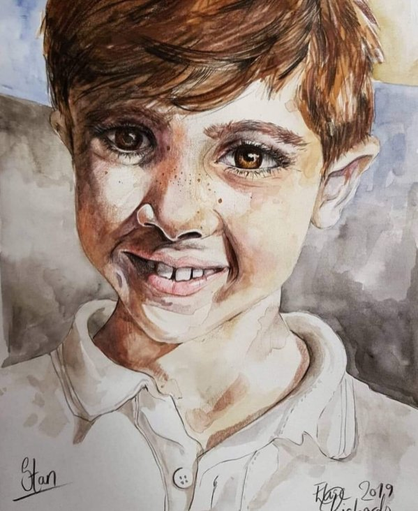 Portrait Of Young Boy Watercolor
