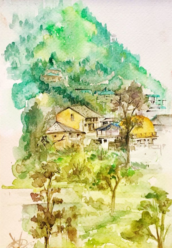 Watercolor Landscape houses Patanjali Bhati