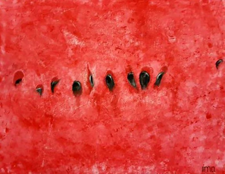 Watermelon Seeds Watercolor Painting