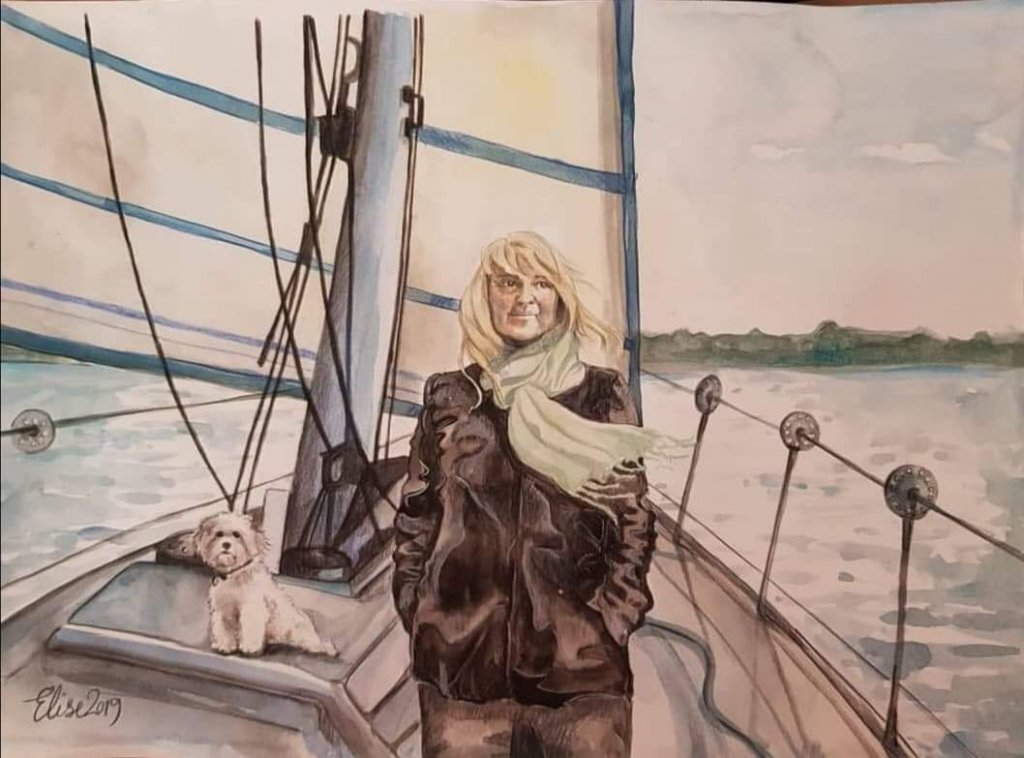 Woman and Dog On Boat Watercolor Painting Elise Richards