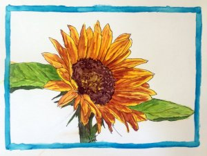 Sunflower Micron and watercolor FB: SilverWillowArt #doodlewashFebruary2020 sunflowerframe2