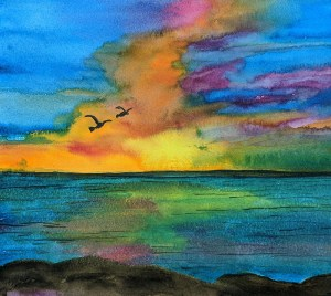 Sunset – watercolours on watercolour paper sunset watercolour