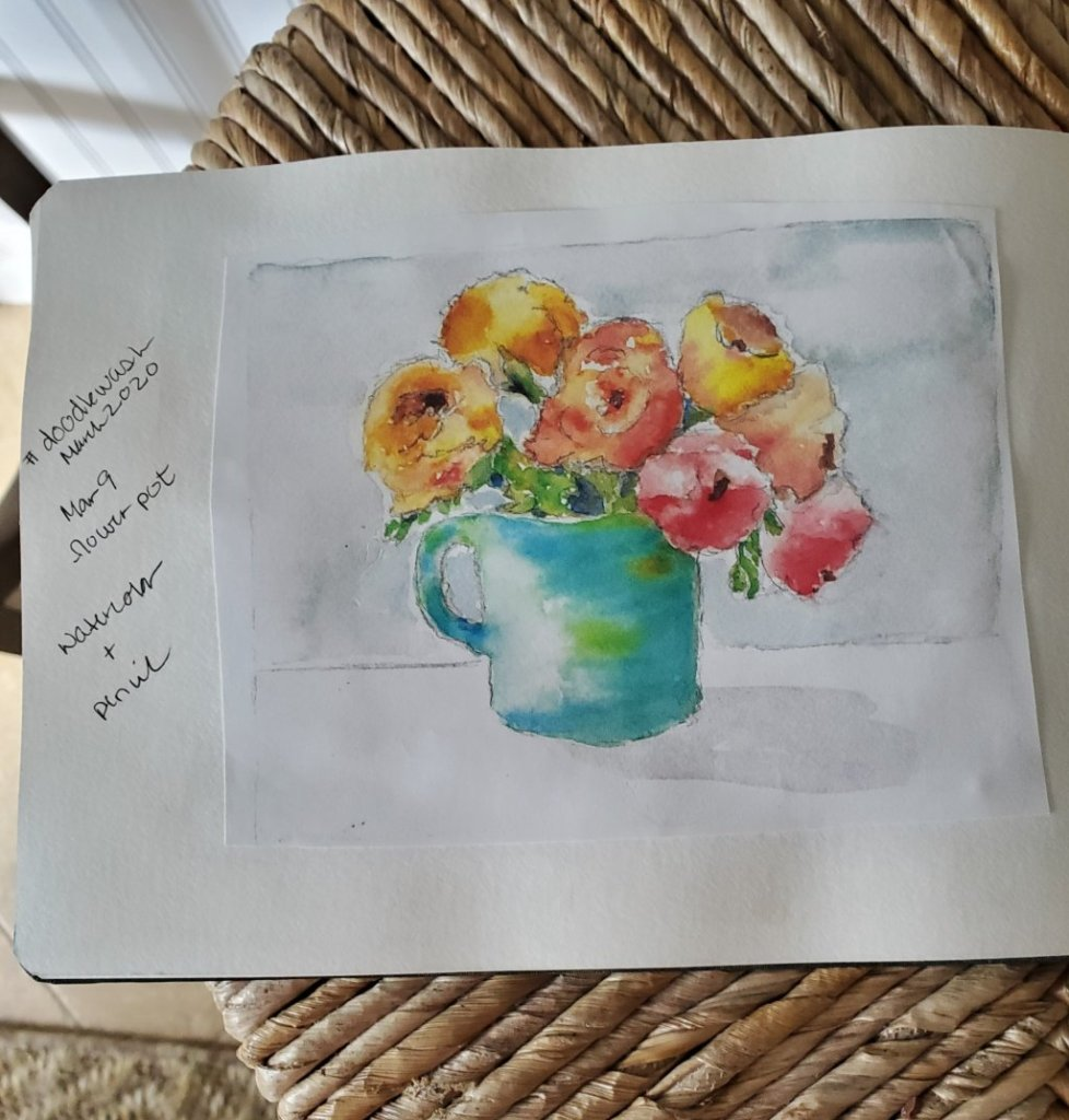 #DoodlewashMarch2020 #Doodlewash #WorldWatercolorGroup March 9 – flower pot 2020-03.09-flower