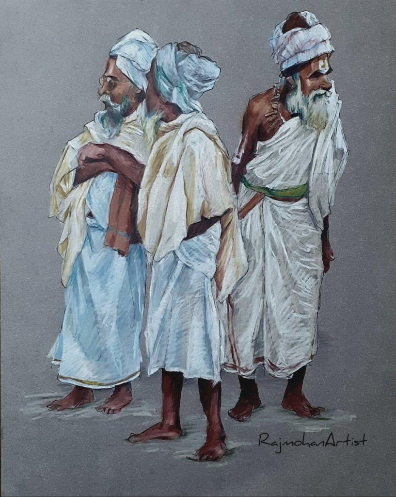 Group of sadhus… Prismacolors on toned paper.. #rajmohanartist 20200318_223605