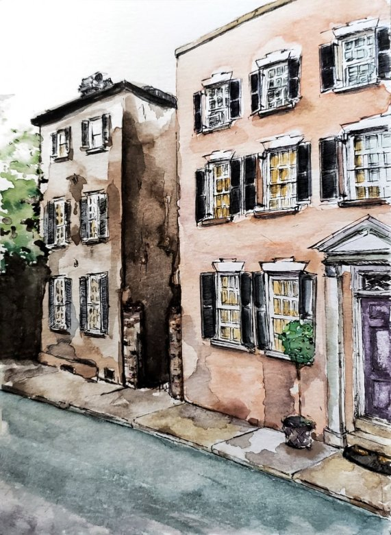 Buildings Watercolor Urban Sketching