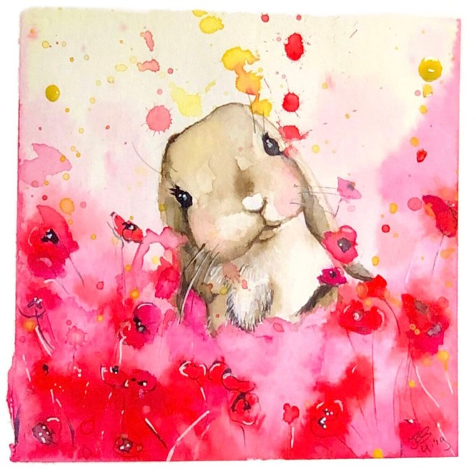 Bunny Red Background Watercolor Painting by Irma Rianne