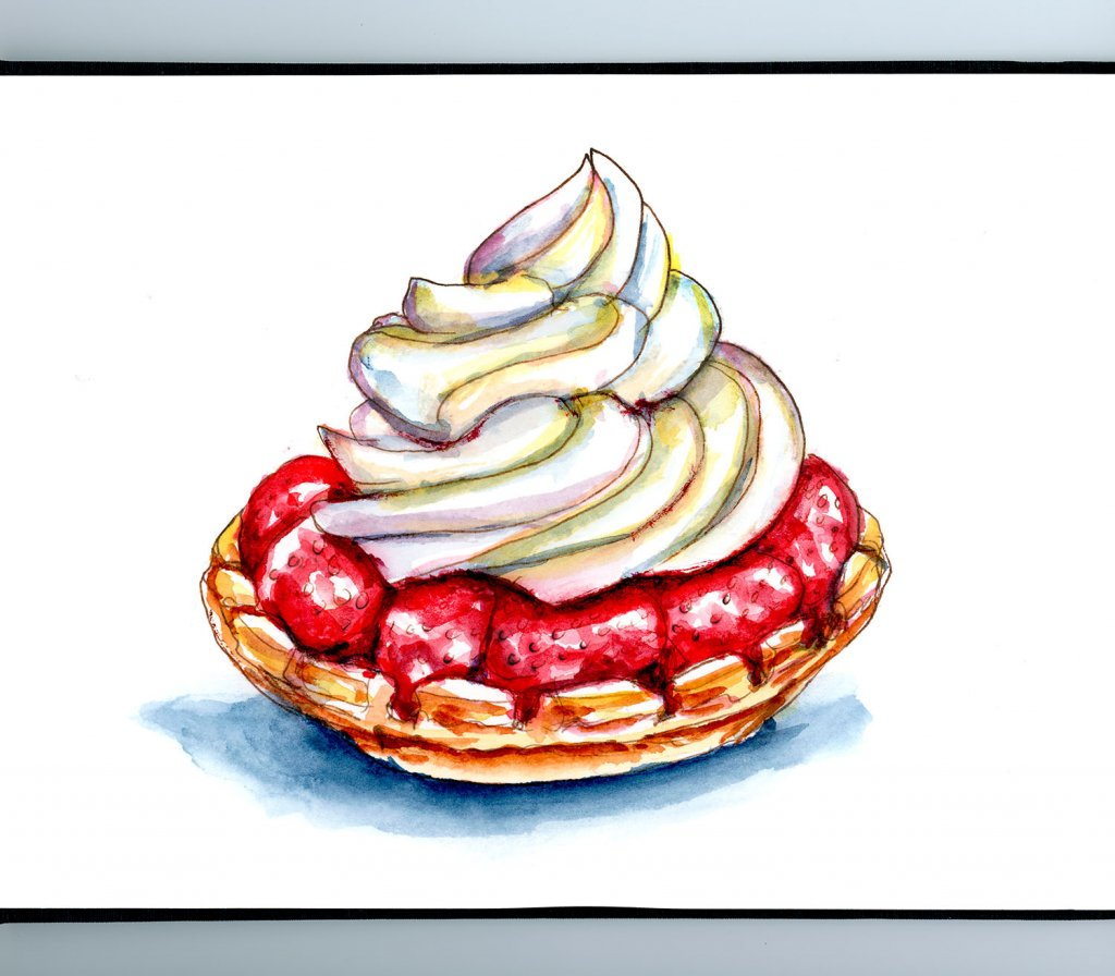 Strawberry Tart Watercolor Painting Sketchbook Detail