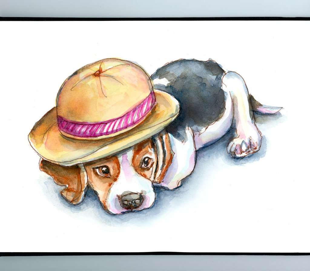 Beagle Puppy In Hat Watercolor Painting Sketchbook Detail