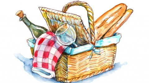Picnic Basket Watercolor Painting