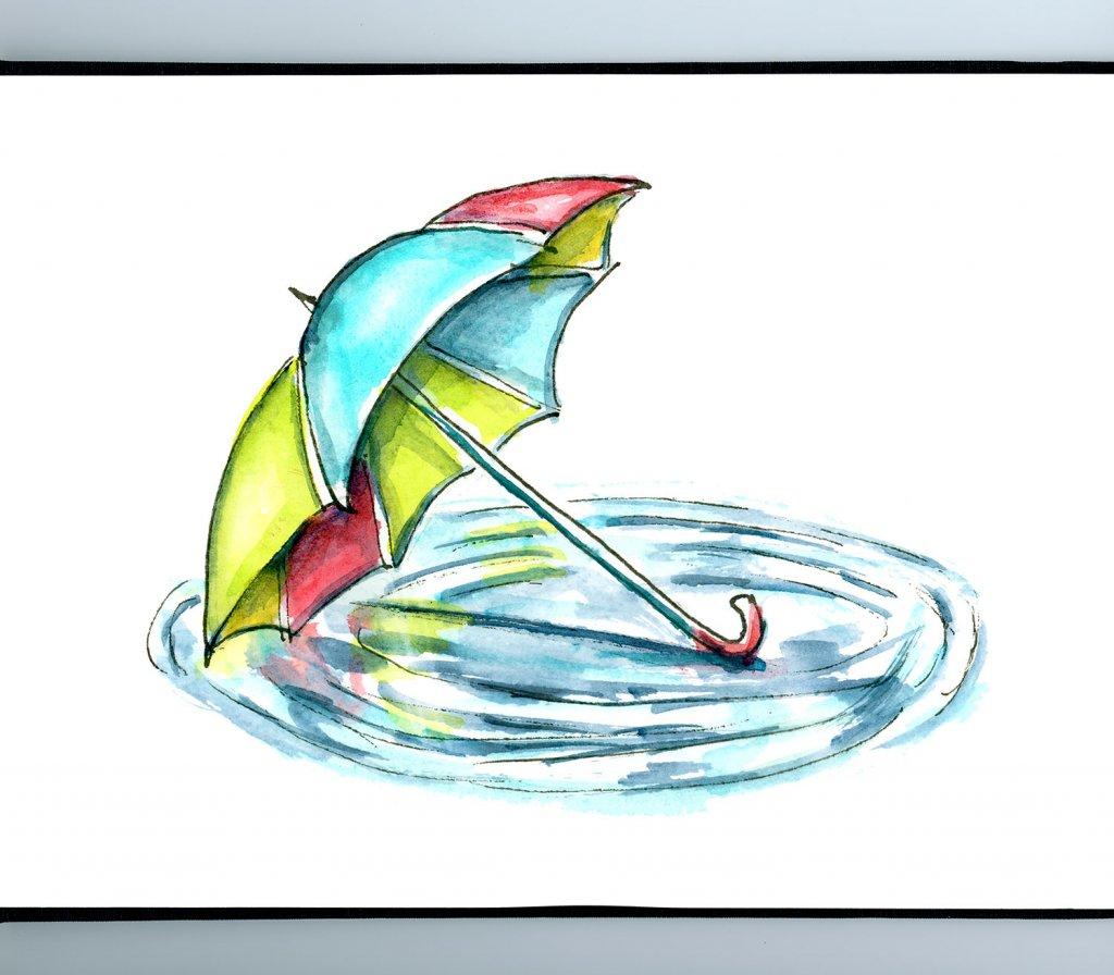 Umbrella Puddle Watercolor Painting Sketchbook Detail