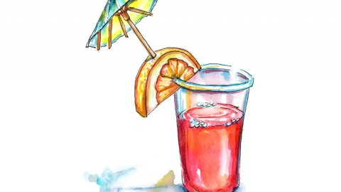 Red Punch Drink With Umbrella Watercolor Painting