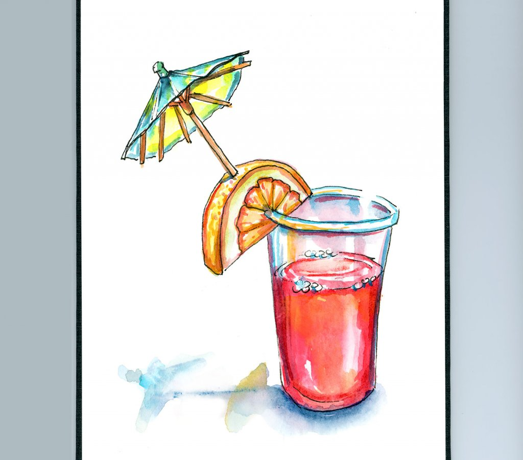 Red Punch Drink With Umbrella Watercolor Painting Sketchbook Detail