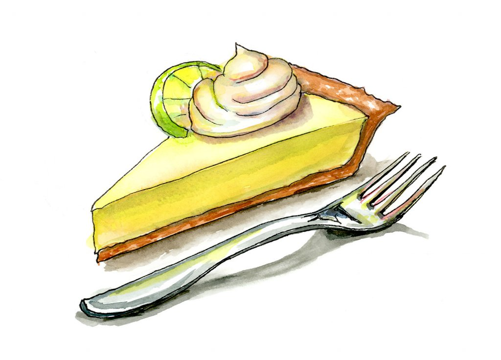 Key Lime Pie And Fork Watercolor Painting