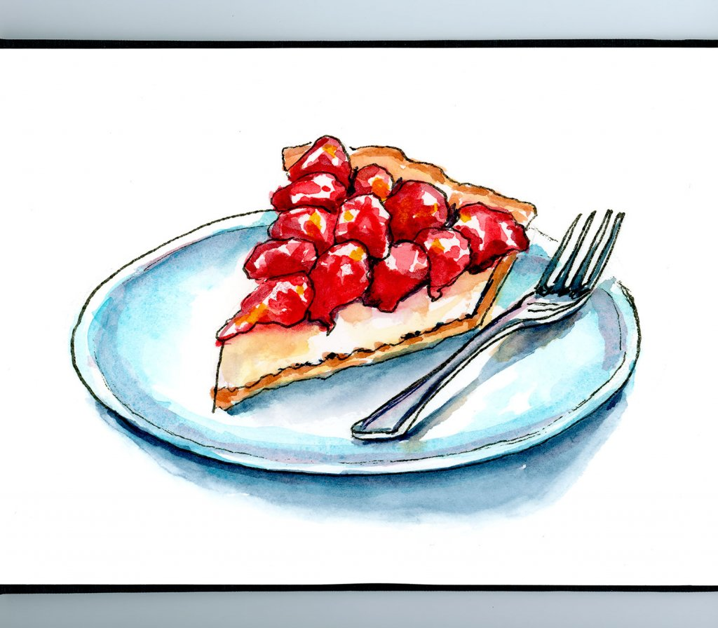 Strawberry Cheescake Pie Watercolor Painting Sketchbook Detail