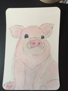 When I saw Charlie's cute piglet this morning, I had to make one too. I've fallen behind on my o