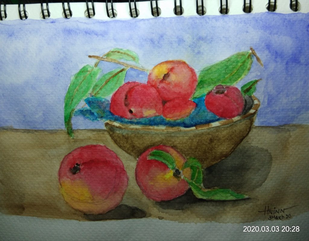 #doodlewashMarch2020 #WorldWatercolorGroup #Beginner #3 #peaches #3March2020 IMG_20200303_202854