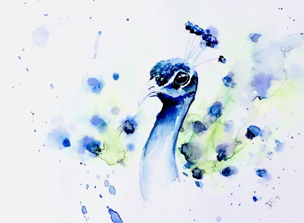 Peacock Watercolor Painting by Irma Rianne