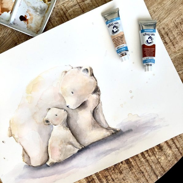 Polar Bears Cute Watercolor Painting