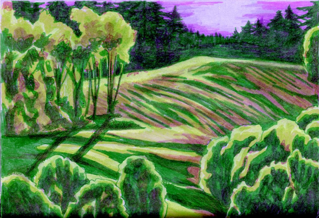 Something Green on Lilac – Done with Zebra Pen's cool new ClickArt Retractable Marker Pe