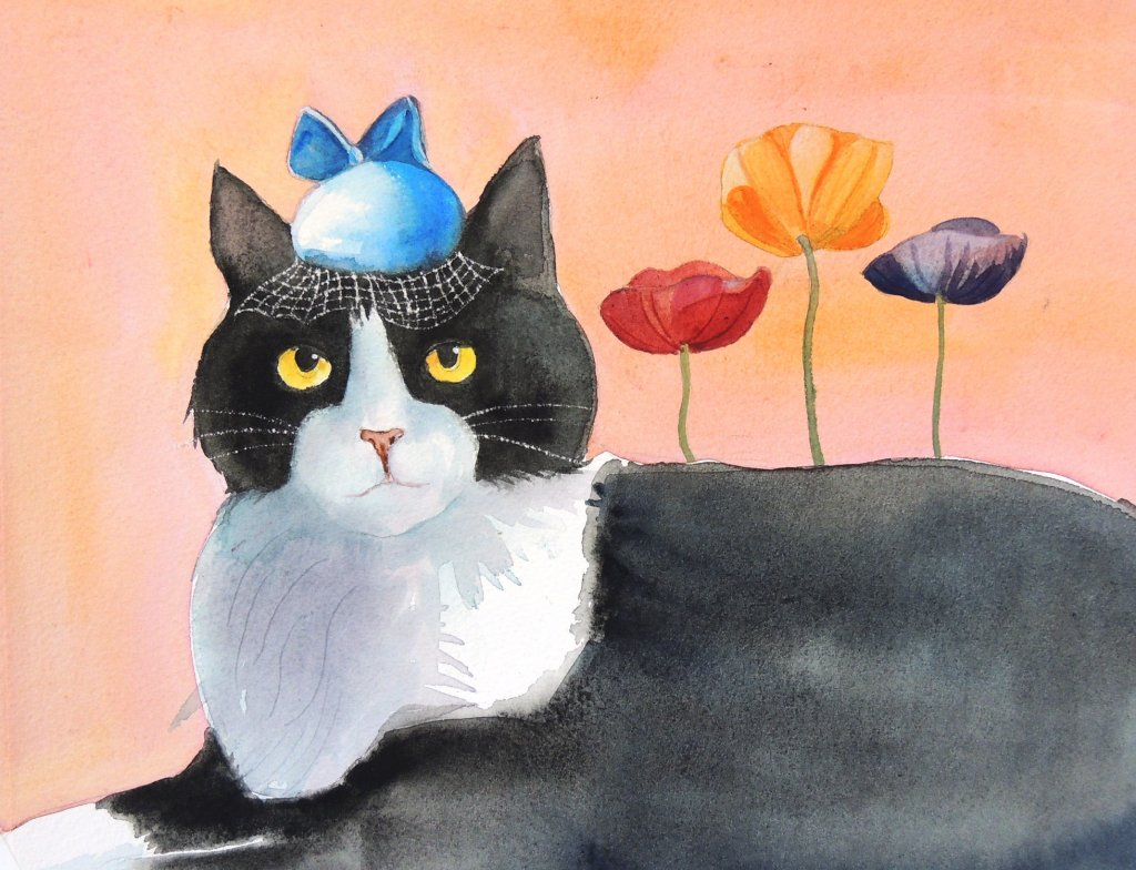 Puff Cat from a series of Cats in Hats, in watercolor puff cat