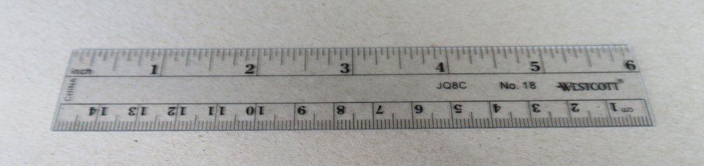 6″ transparent metric/English ruler