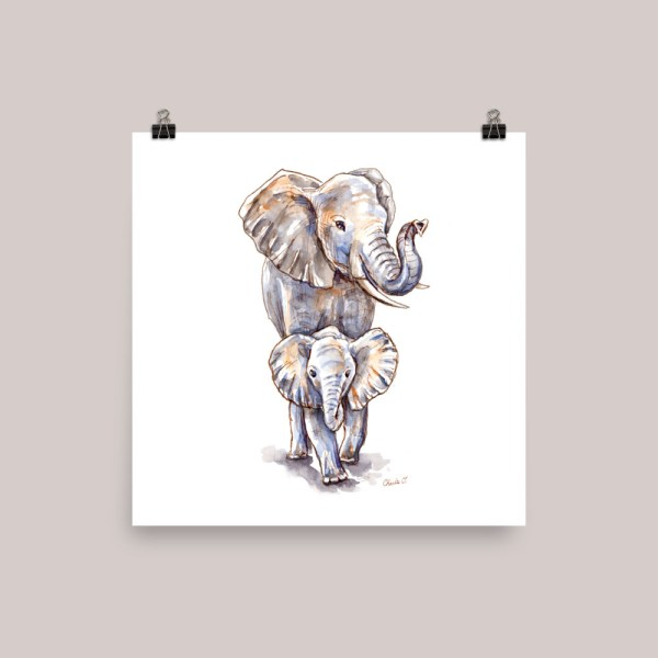Baby-Elephant-And-Mother-Watercolor-Illustration-Signed_ Watercolor Print