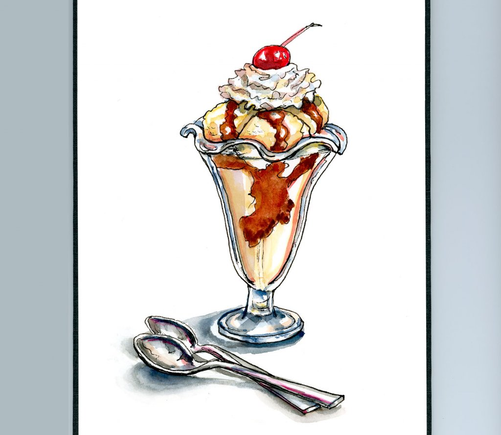 Ice Cream Sundae Chocolate Cherry Watercolor Painting Sketchbook Detail