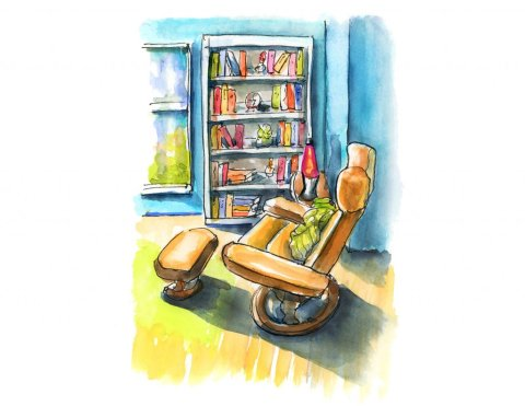 Reading Nook Watercolor Urban Sketching Sketchers Illustration