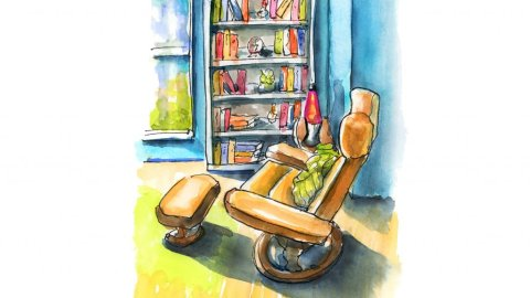Reading Nook Watercolor Urban Sketching Sketchers Illustration