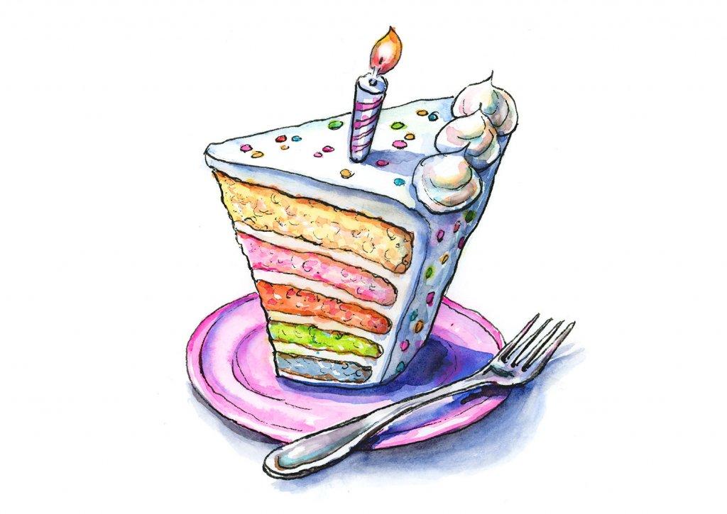 Rainbow Birthday Cake Slice Watercolor Illustration