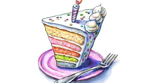 Rainbow Birthday Cake Slice Watercolor Illustration