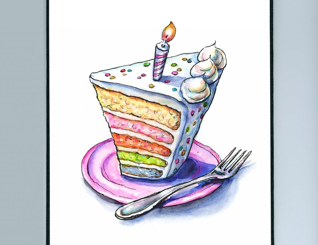 Rainbow Birthday Cake Slice Watercolor Illustration Sketchbook Detail