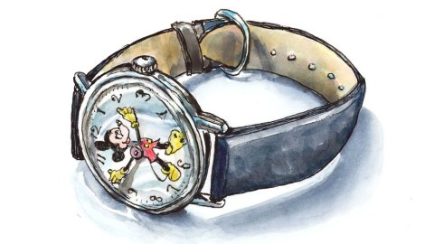 Mickey Mouse Watch Watercolor Illustration